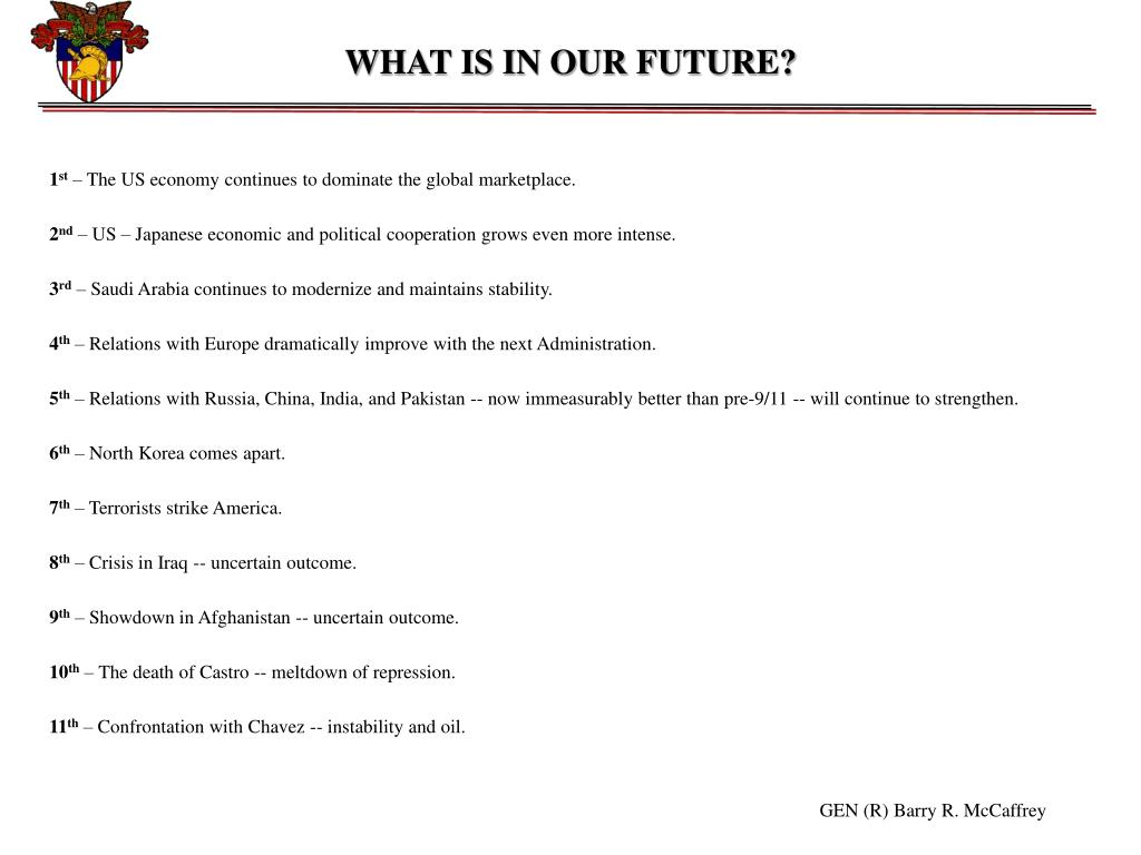 WHAT IS IN OUR FUTURE?