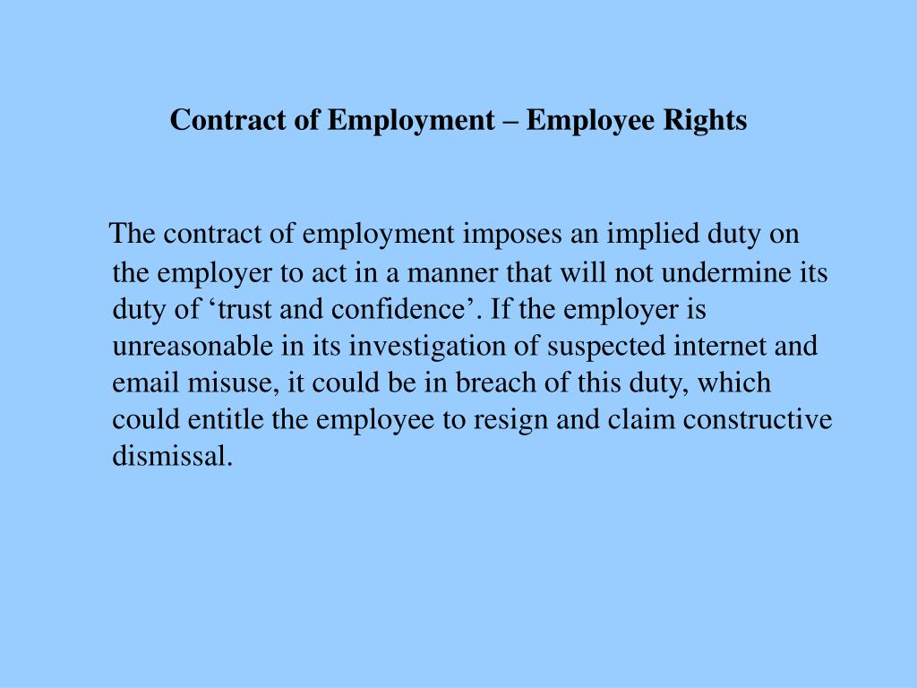 Contract of Employment – Employee Rights