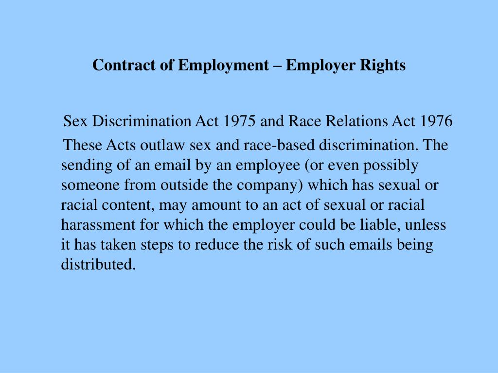 Contract of Employment – Employer Rights