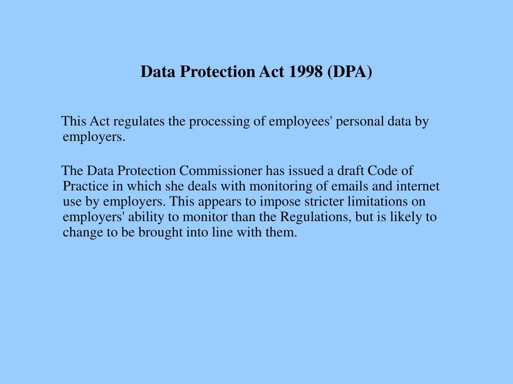 Data Protection Act 1998 (DPA)