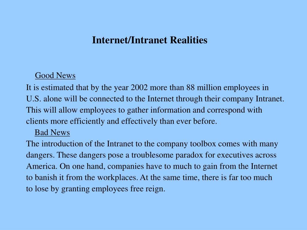 Internet/Intranet Realities