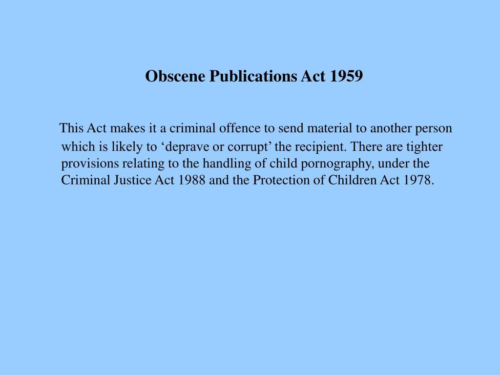 Obscene Publications Act 1959