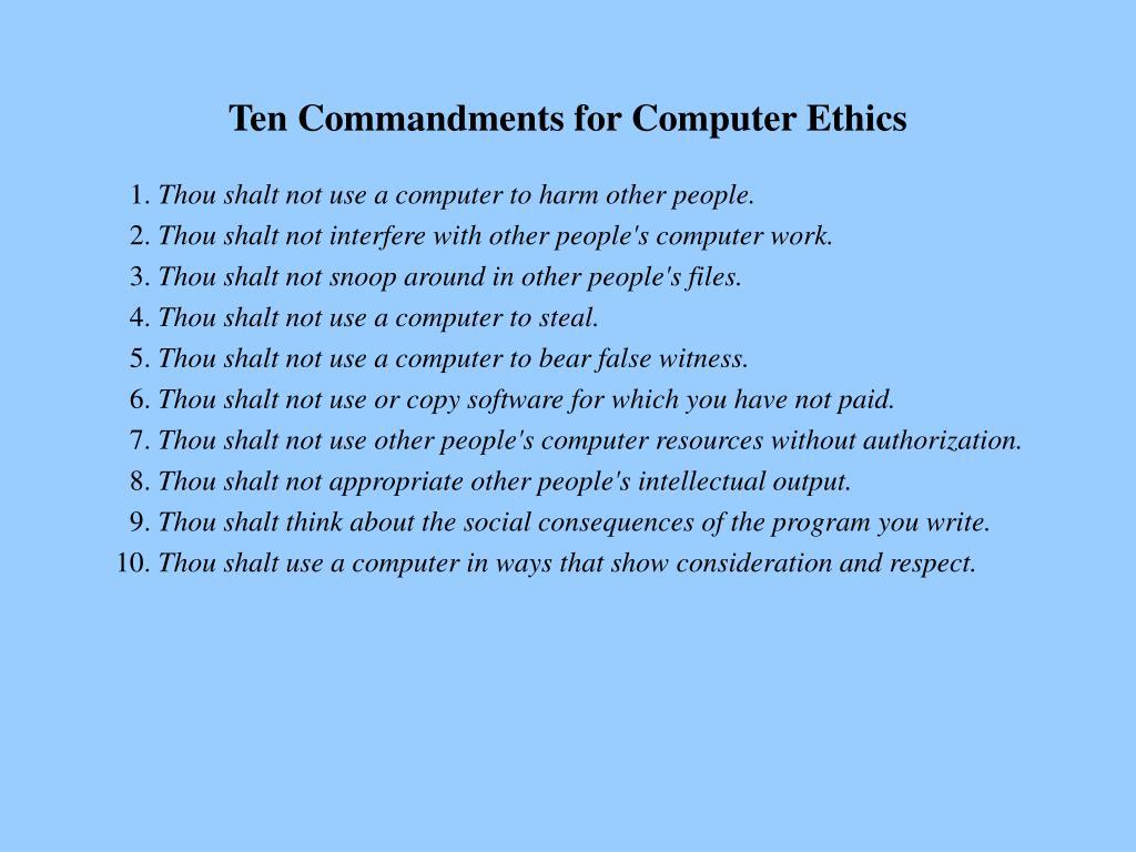 Ten Commandments for Computer Ethics