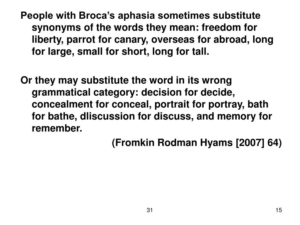 People with Broca's aphasia sometimes substitute synonyms of the words they mean: freedom for liberty, parrot for canary, overseas for abroad, long for large, small for short, long for tall.