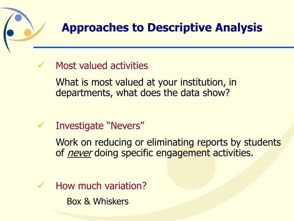 Approaches to Descriptive Analysis