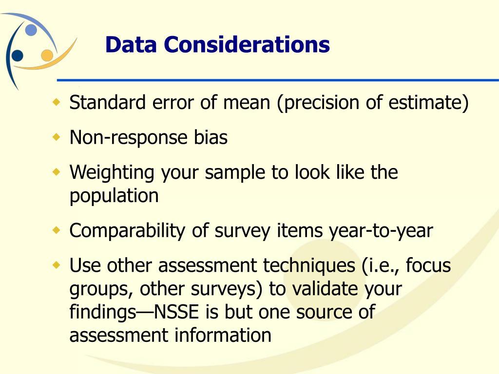 Standard error of mean (precision of estimate)