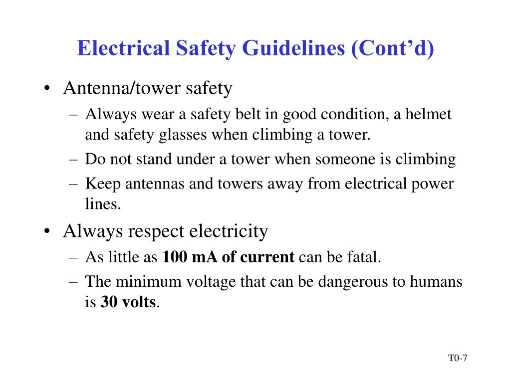 Electrical Safety Guidelines (Cont'd)