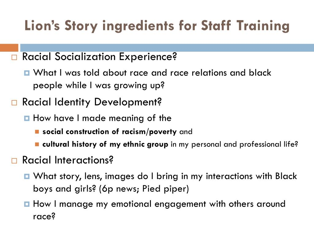 Lion's Story ingredients for Staff Training
