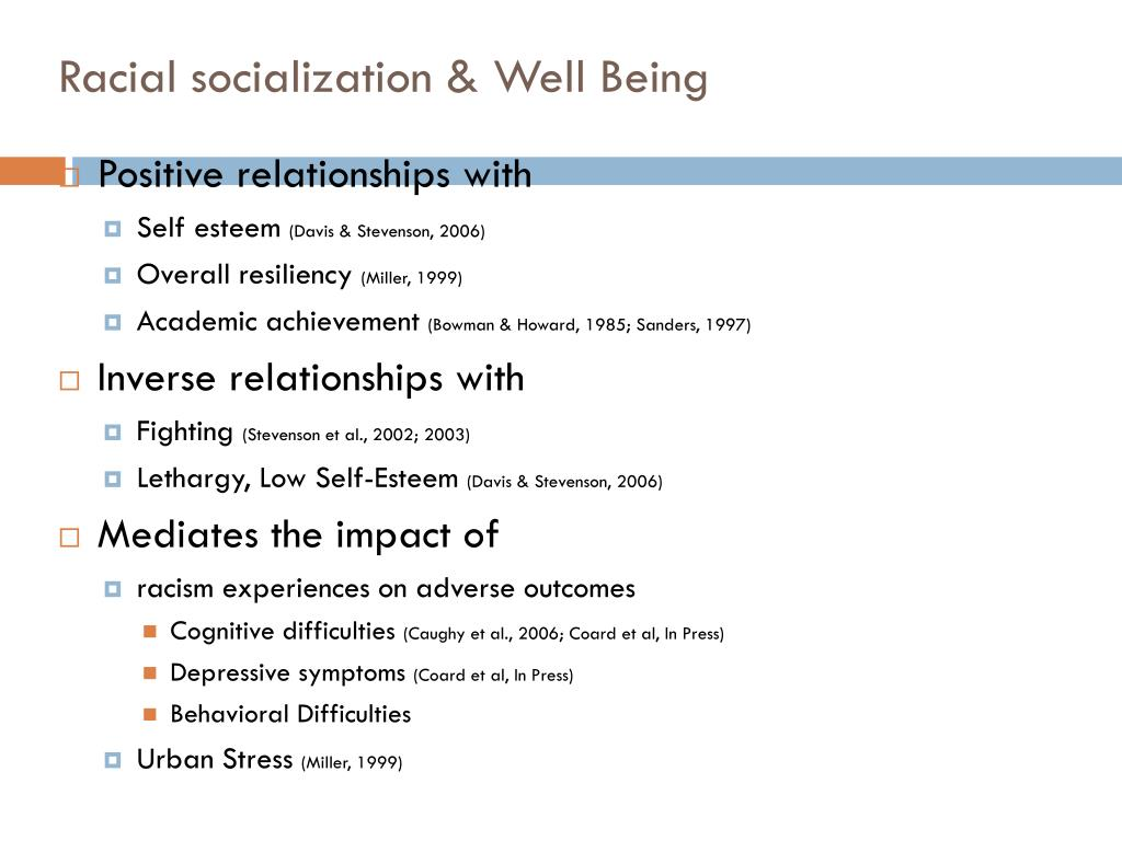 Racial socialization & Well Being