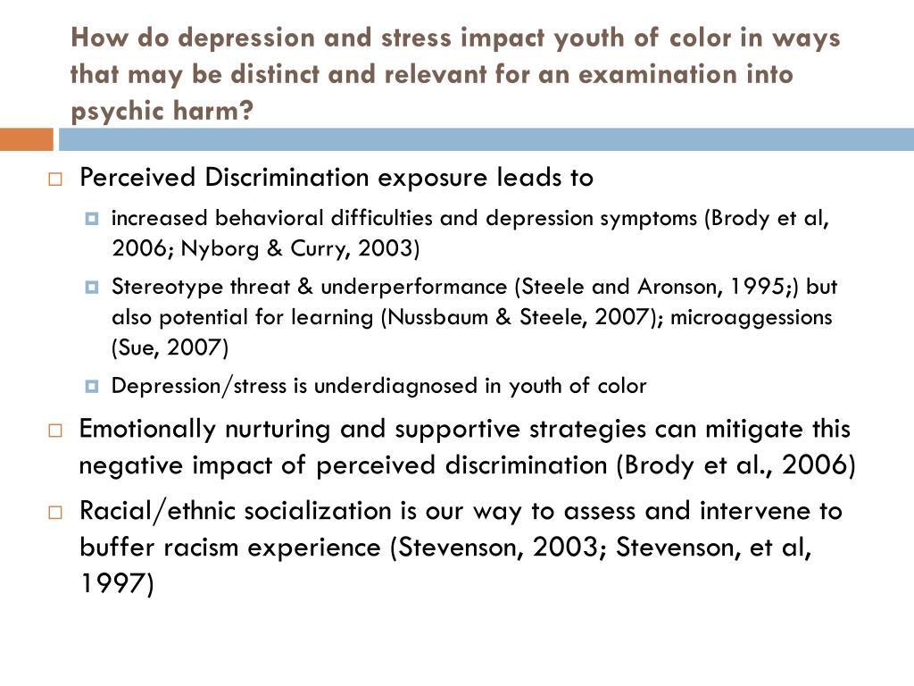 How do depression and stress impact youth of color in ways that may be distinct and relevant for an examination into psychic harm?
