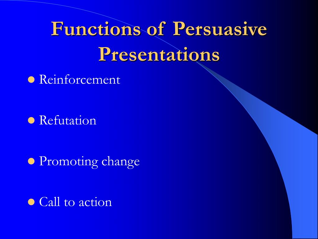 Functions of Persuasive Presentations