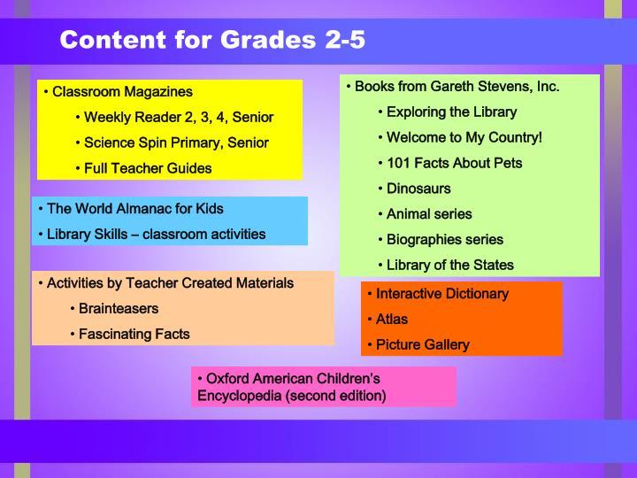 Content for Grades 2-5
