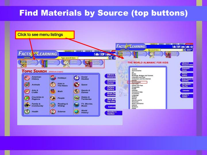 Find Materials by Source (top buttons)