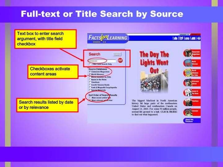 Full-text or Title Search by Source