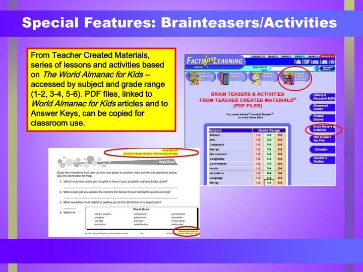 Special Features: Brainteasers/Activities