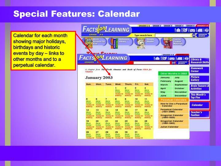 Special Features: Calendar