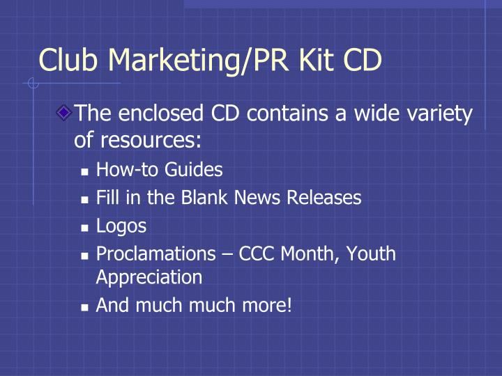 Club Marketing/PR Kit CD