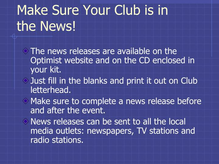 Make Sure Your Club is in