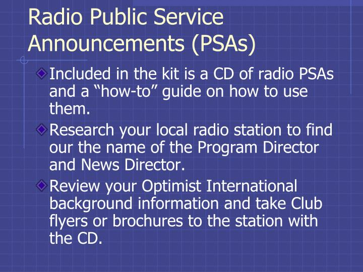 Radio Public Service Announcements (PSAs)