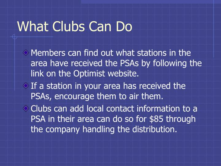 What Clubs Can Do