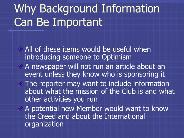 Why Background Information Can Be Important