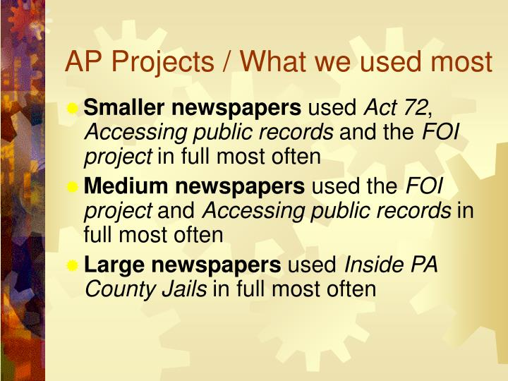 AP Projects / What we used most