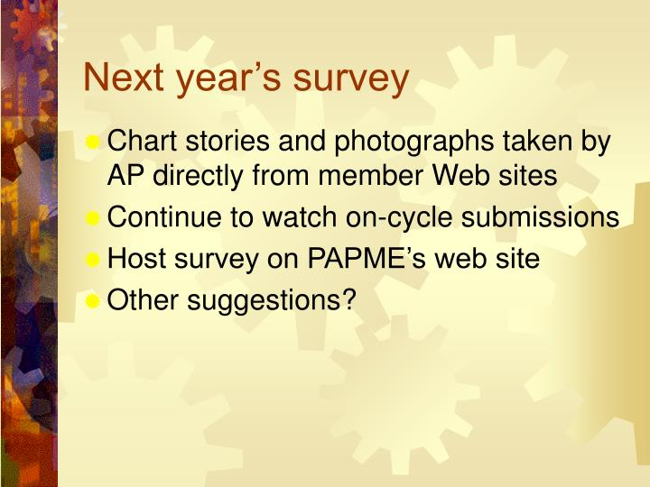 Next year's survey