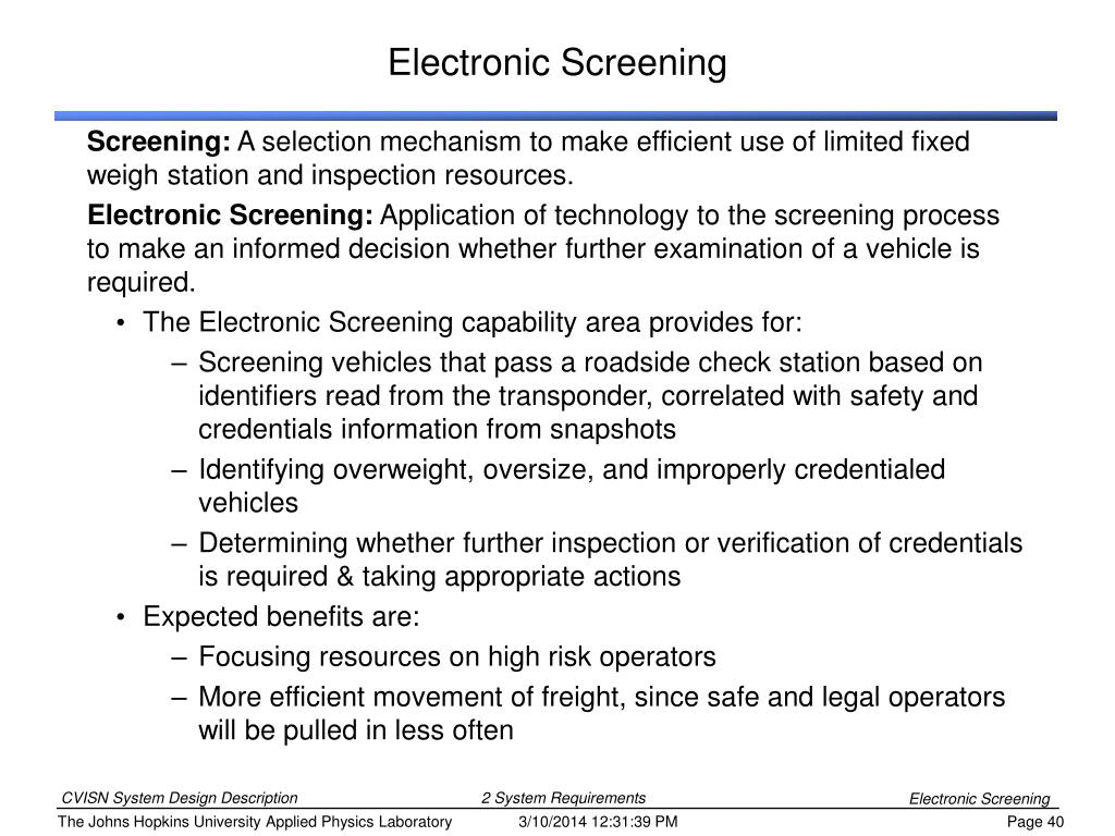 Electronic Screening