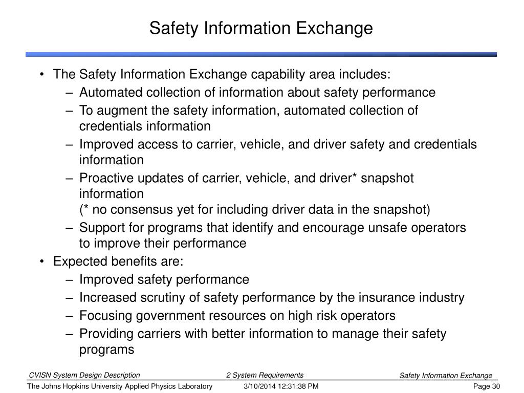 Safety Information Exchange