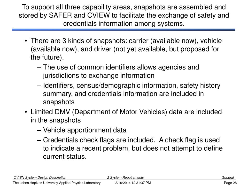 To support all three capability areas, snapshots are assembled and stored