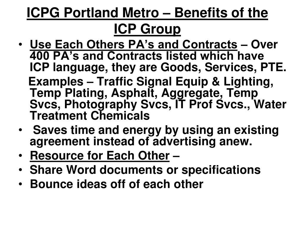 ICPG Portland Metro – Benefits of the ICP Group