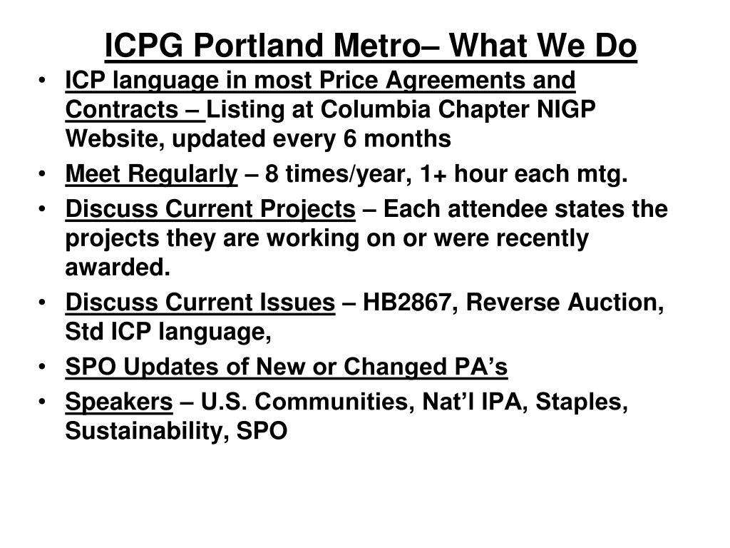 ICPG Portland Metro– What We Do