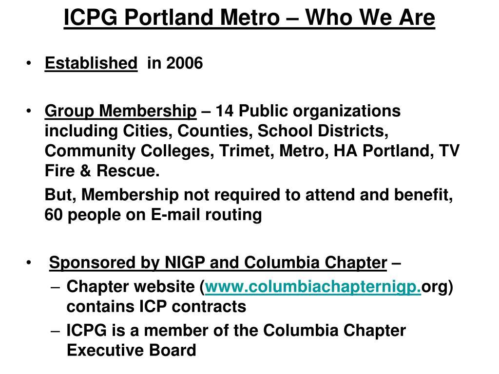 ICPG Portland Metro – Who We Are
