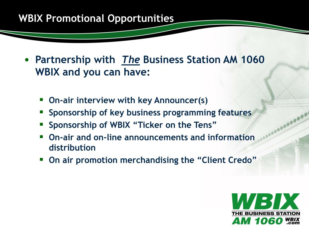 WBIX Promotional Opportunities