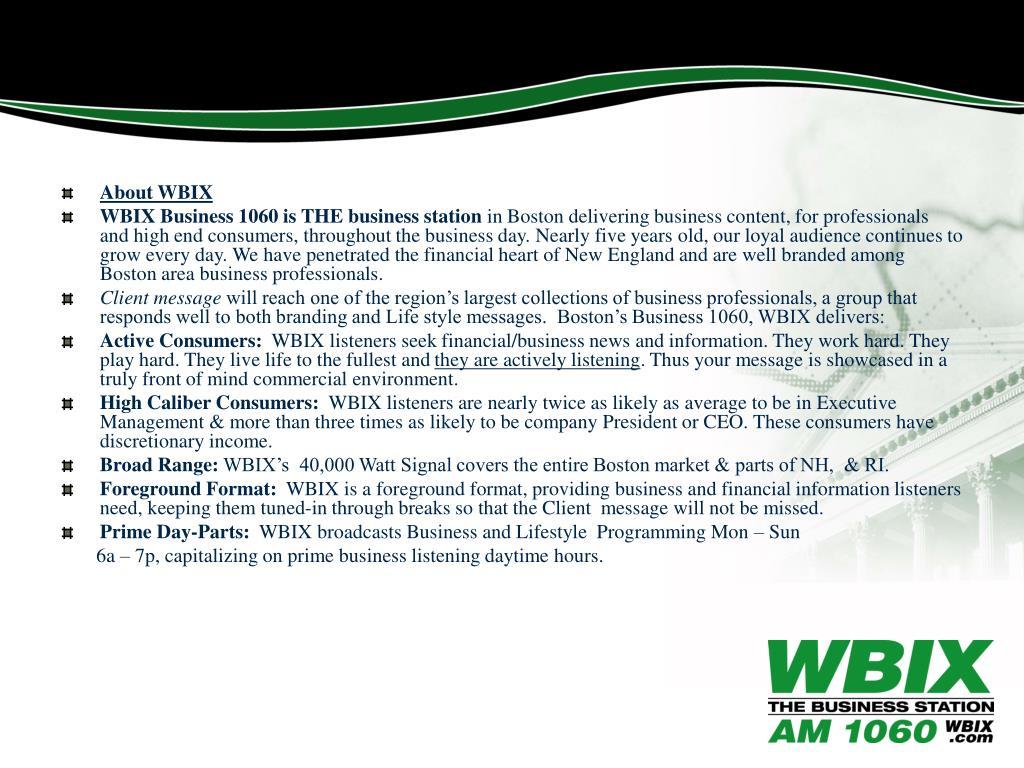 About WBIX