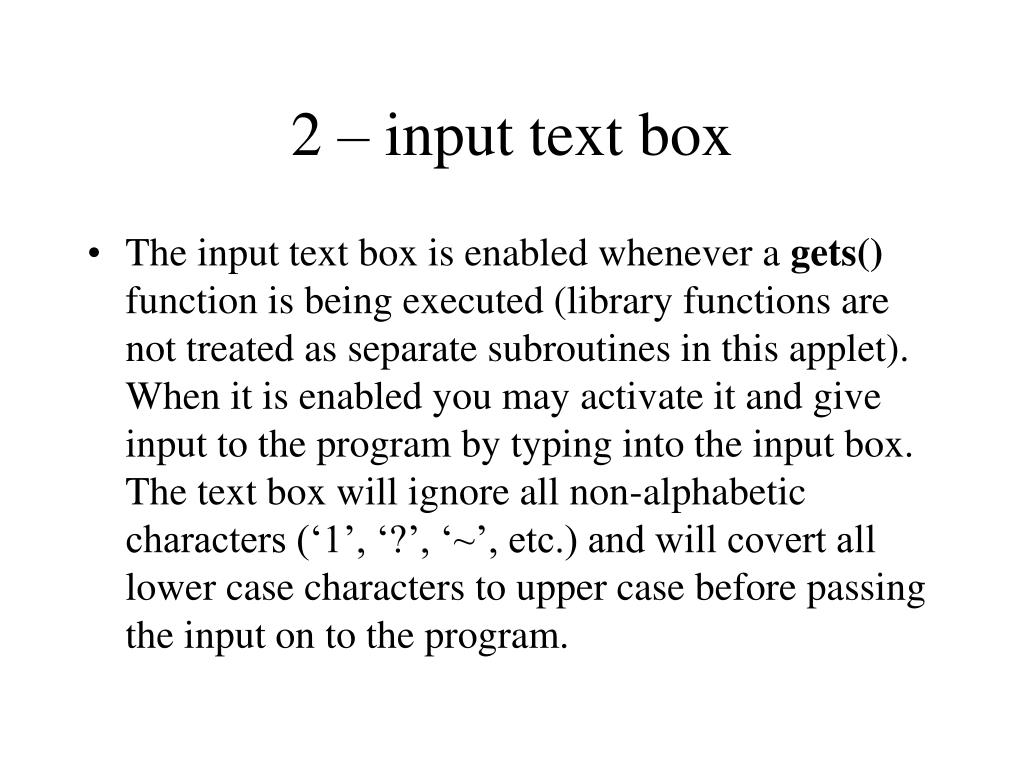 2 – input text box