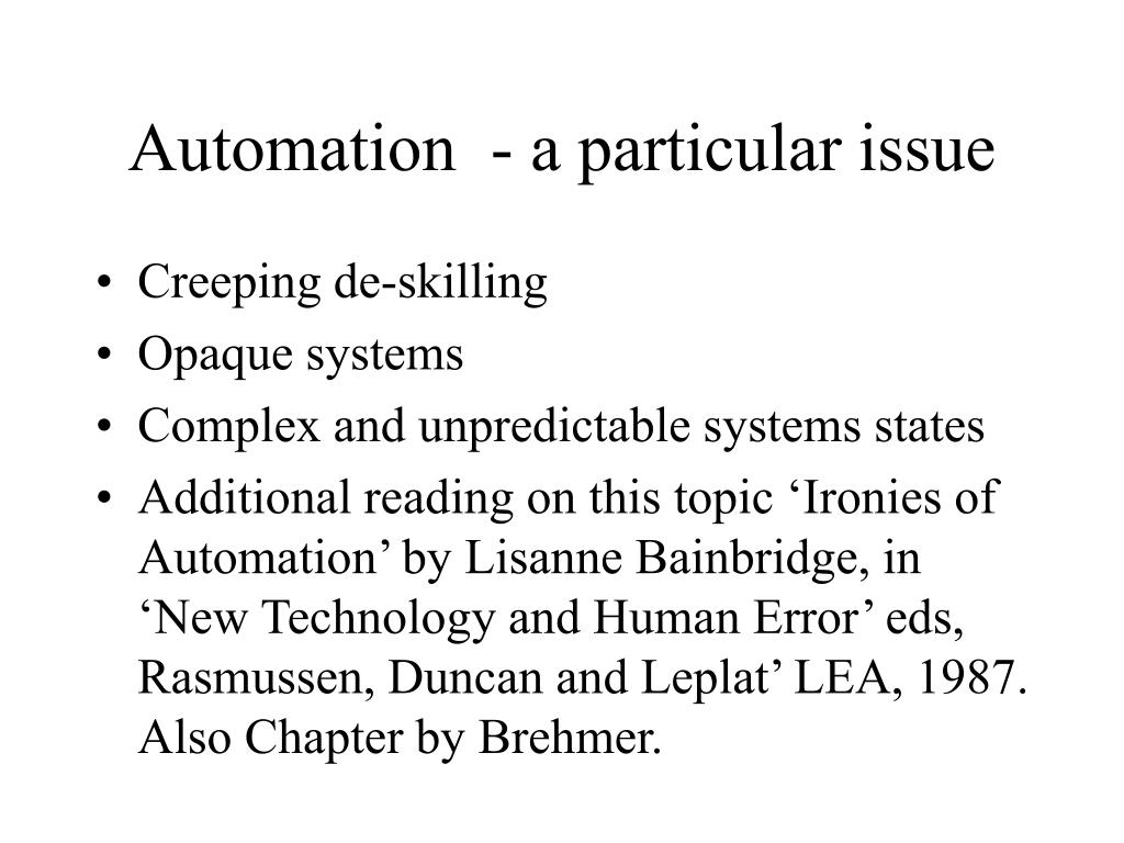 Automation  - a particular issue