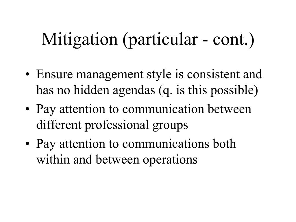 Mitigation (particular - cont.)