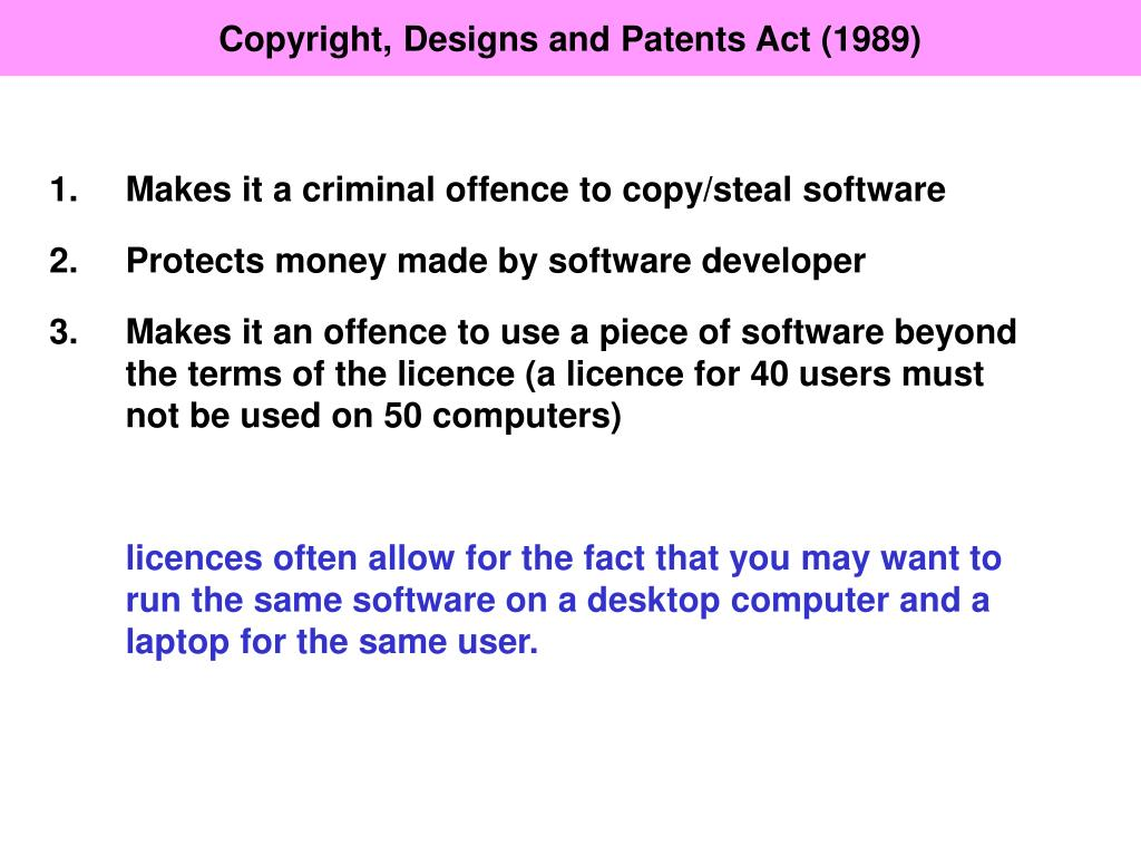 Copyright, Designs and Patents Act (1989)