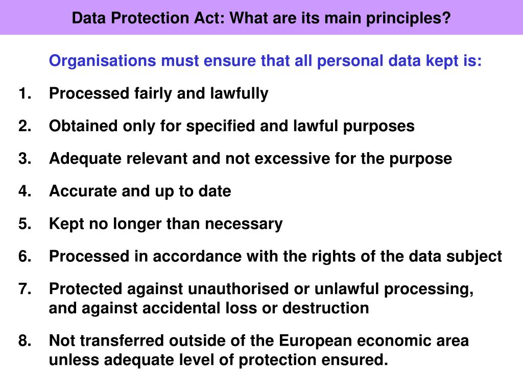 Data Protection Act: What are its main principles?