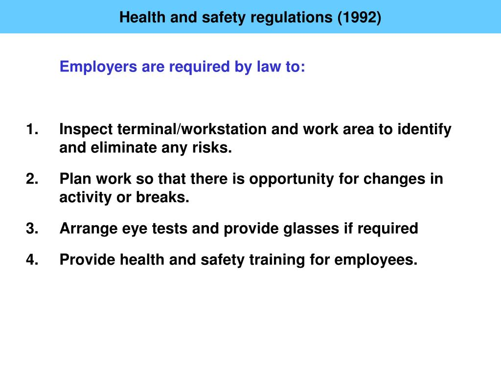 Health and safety regulations (1992)