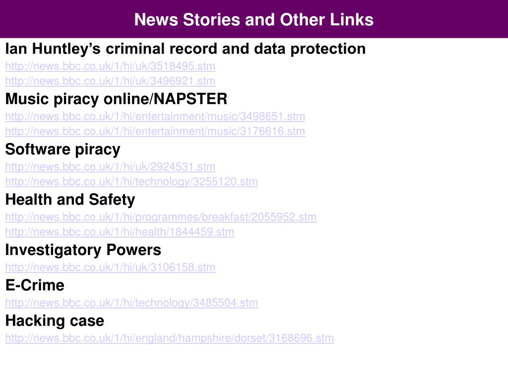 News Stories and Other Links