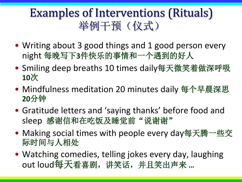 Examples of Interventions (Rituals)