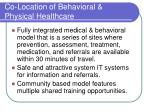 co location of behavioral physical healthcare