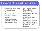 outcome of summit ten goals
