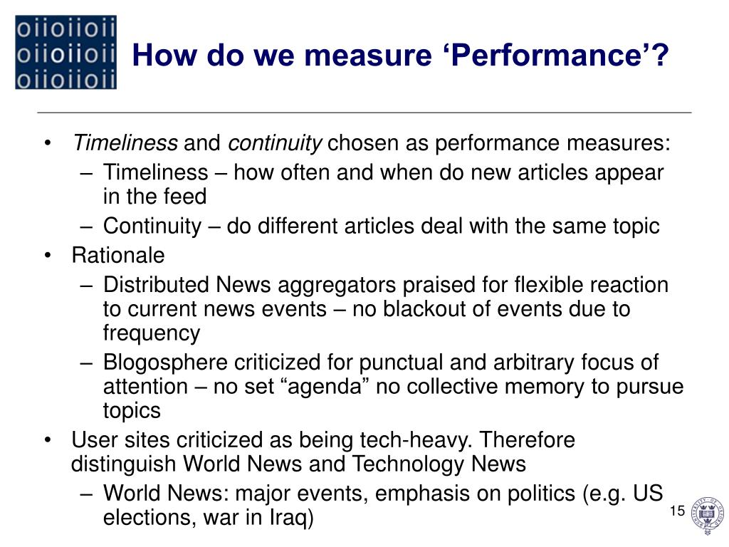 How do we measure 'Performance'?