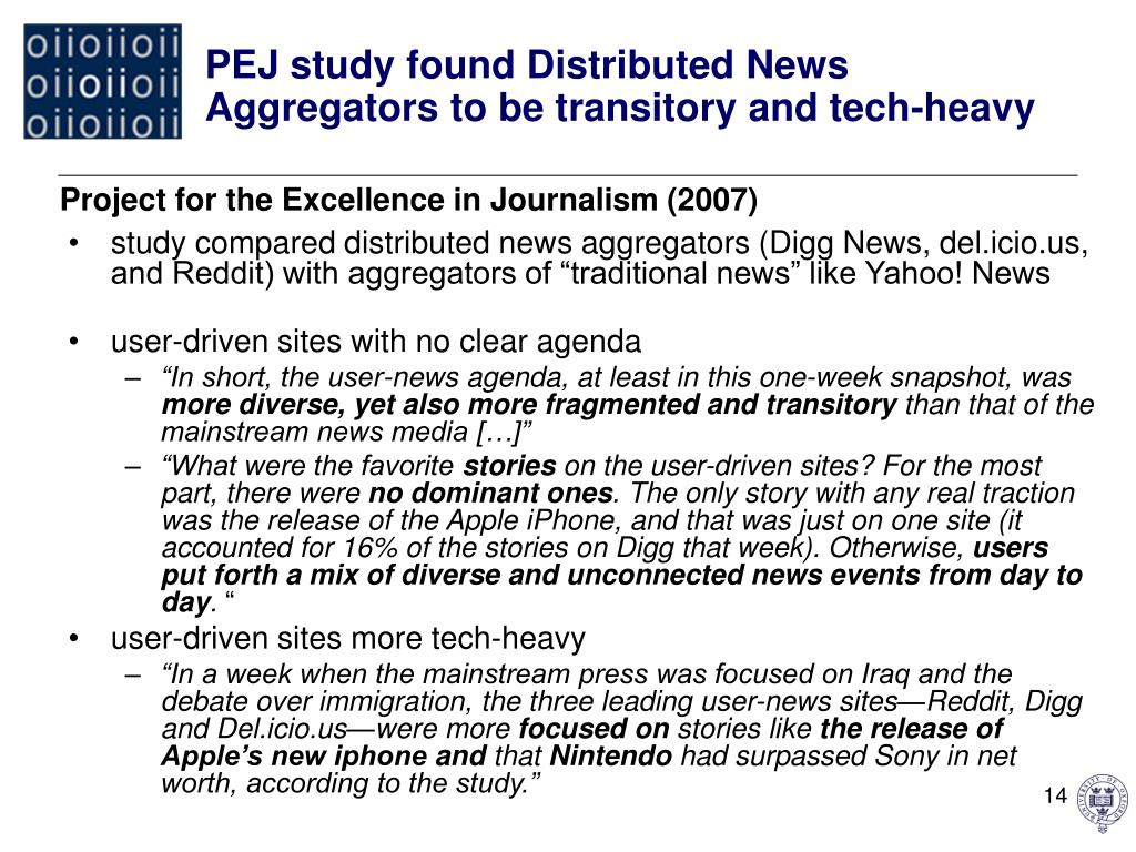 PEJ study found Distributed News Aggregators to be transitory and tech-heavy