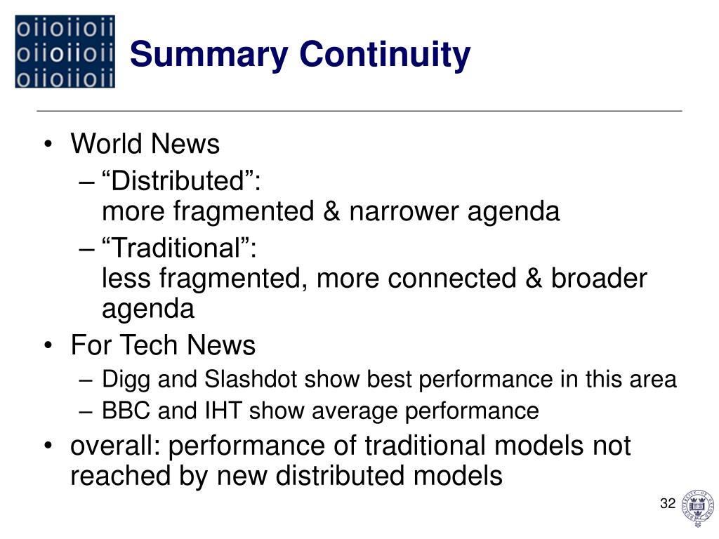 Summary Continuity