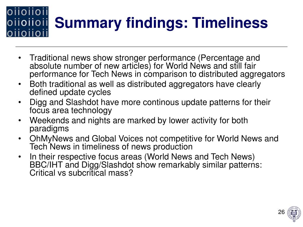 Summary findings: Timeliness