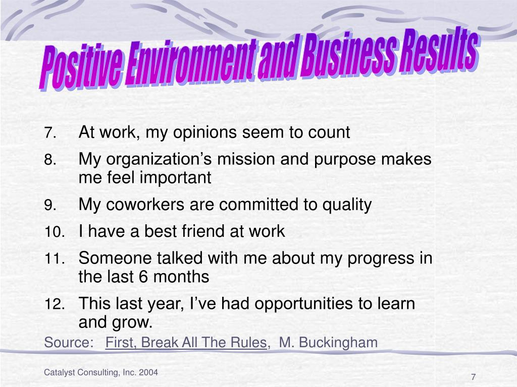 Positive Environment and Business Results